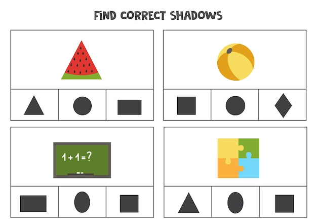 Encontre a sombra correta dos objetos. jogos de cartas clip para impressão para crianças.