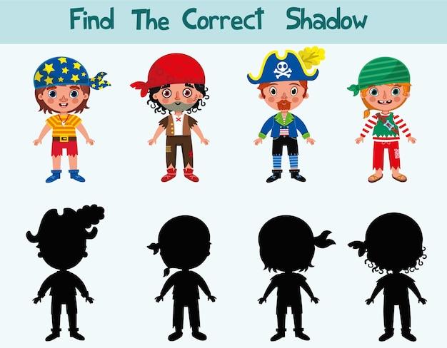 Encontre a sombra correta dos piratas jogo com silhuetas para crianças ilustração vetorial
