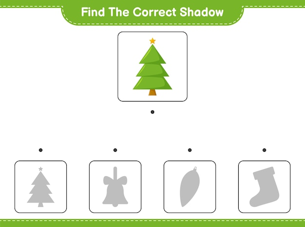 Encontre a sombra correta. encontre e combine a sombra correta da árvore de natal.
