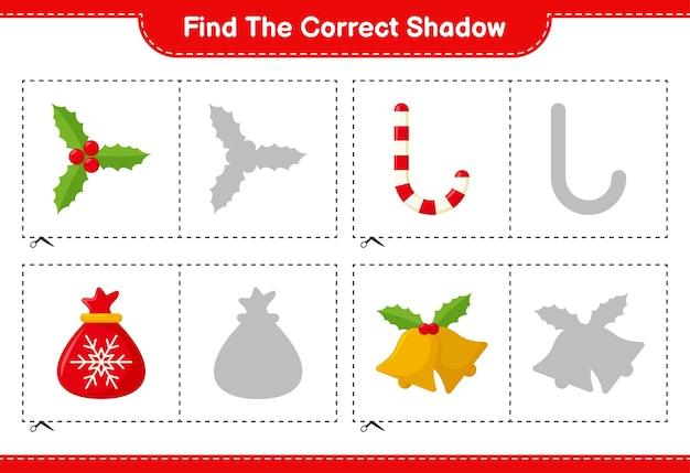 Encontre a sombra correta. encontre e combine a sombra correta da decoração de natal. jogo educativo infantil