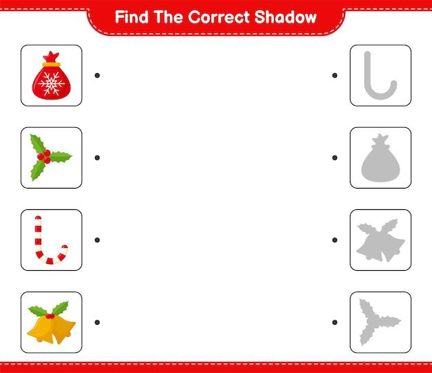 Encontre a sombra correta. encontre e combine a sombra correta da decoração de natal.