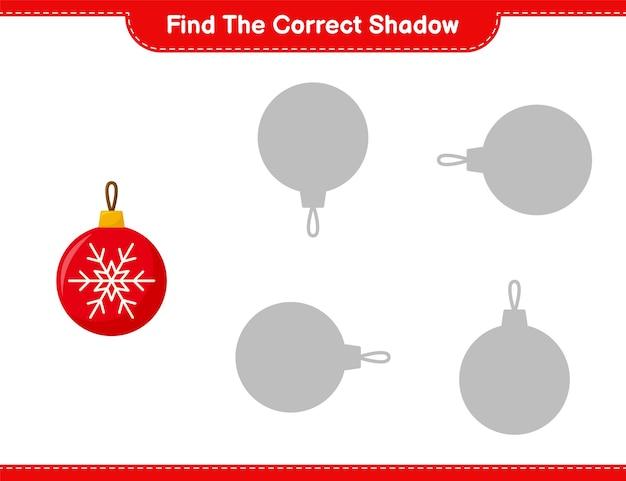 Encontre a sombra correta. encontre e combine a sombra correta das bolas de natal. jogo educativo infantil