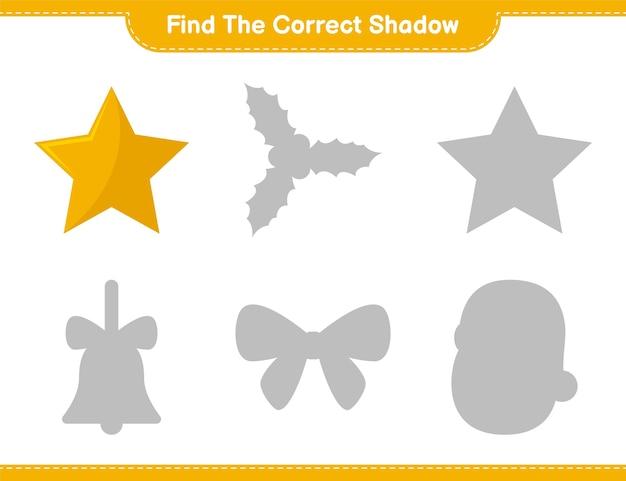 Encontre a sombra correta. encontre e combine a sombra correta das estrelas. jogo educativo infantil