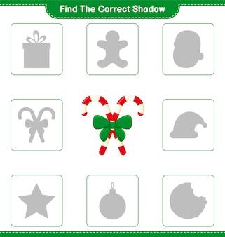 Encontre a sombra correta. encontre e combine a sombra correta de candy canes with ribbon. jogo educativo infantil