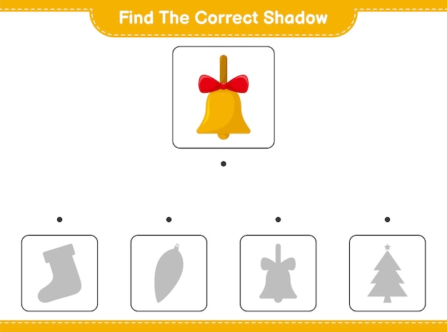 Encontre a sombra correta. encontre e combine a sombra correta de golden christmas bells.