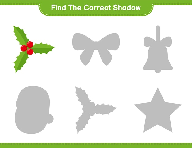 Encontre a sombra correta. encontre e combine a sombra correta de holly berries. jogo educativo infantil