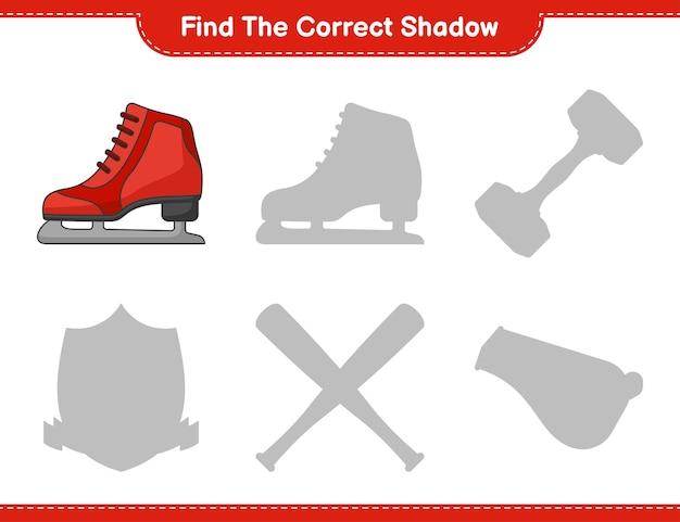 Encontre a sombra correta. encontre e combine a sombra correta de patins de gelo. jogo educativo infantil
