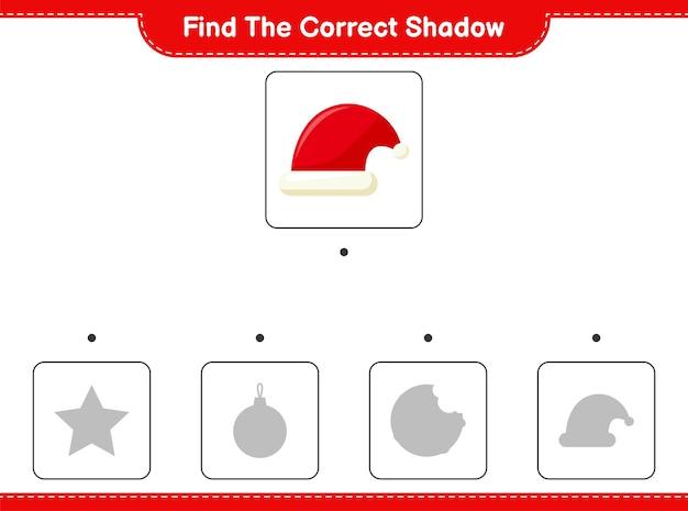 Encontre a sombra correta. encontre e combine a sombra correta do chapéu do papai noel.