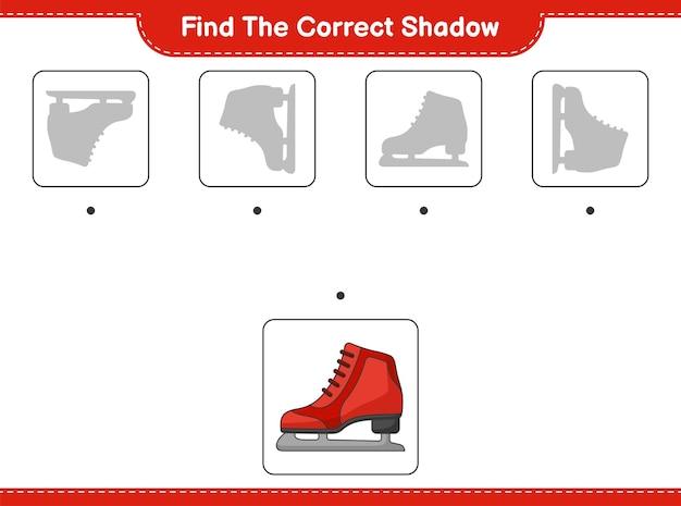 Encontre a sombra correta encontre e combine a sombra correta do jogo educativo para crianças patins de gelo