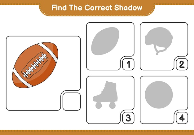 Encontre a sombra correta encontre e combine a sombra correta do jogo educativo para crianças rugby ball
