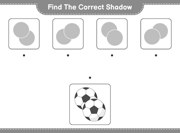 Encontre a sombra correta encontre e combine a sombra correta do jogo educativo para crianças soccer ball
