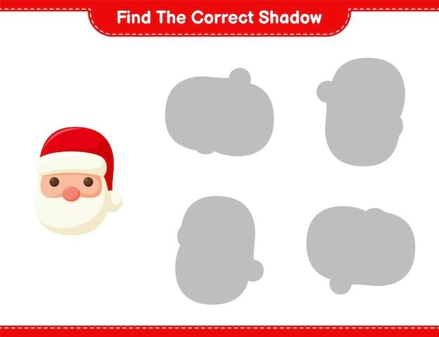 Encontre a sombra correta. encontre e combine a sombra correta do papai noel. jogo educativo infantil