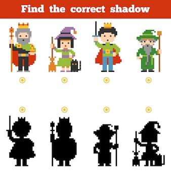 Encontre a sombra correta, jogo de educação para crianças. conjunto de personagens de contos de fadas