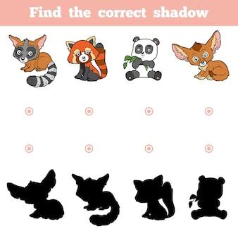 Encontre a sombra correta, jogo de educação para crianças. conjunto de vetores de animais