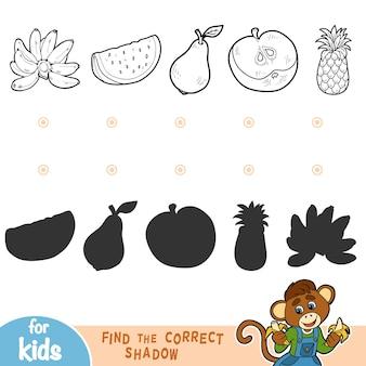 Encontre a sombra correta, jogo de educação para crianças. frutas pretas e brancas