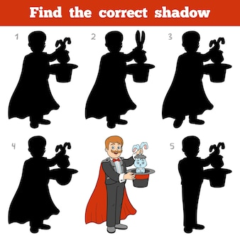 Encontre a sombra correta, jogo de educação para crianças, ilusionista