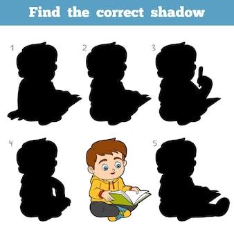 Encontre a sombra correta, jogo de educação para crianças, menino lendo um livro