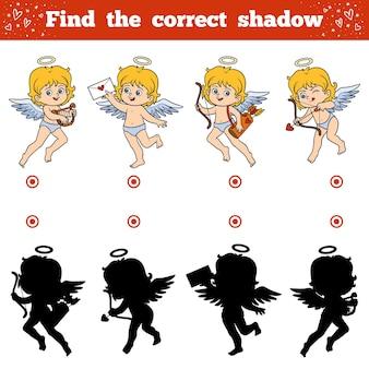 Encontre a sombra correta, jogo de educação para crianças. personagem do dia dos namorados, anjos