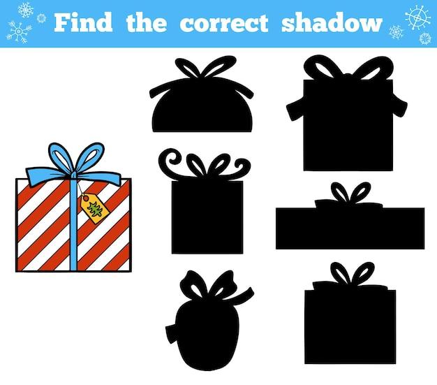 Encontre a sombra correta, jogo de educação para crianças. presentes de natal