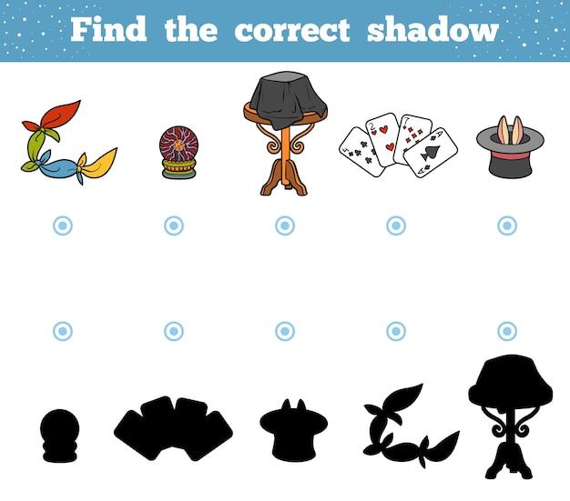 Encontre a sombra correta, jogo de educação para crianças. um conjunto de acessórios para o mágico