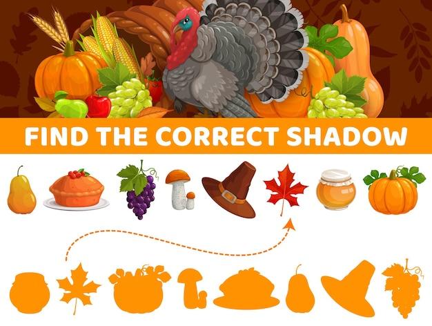 Encontre a sombra correta, jogo de outono para crianças de ação de graças