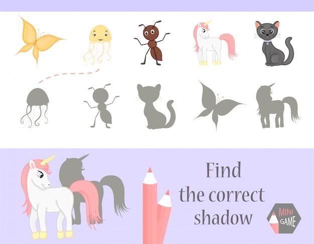 Encontre a sombra correta, jogo educativo para crianças. animais bonitos dos desenhos animados e natureza. ilustração vetorial