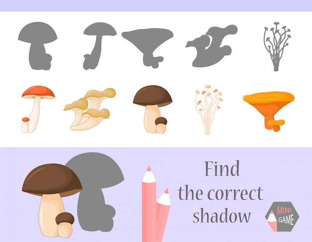 Encontre a sombra correta, jogo educativo para crianças. animais fofos dos desenhos animados e natureza. ilustração do vetor