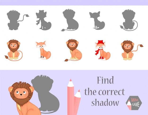 Encontre a sombra correta, jogo educativo para crianças