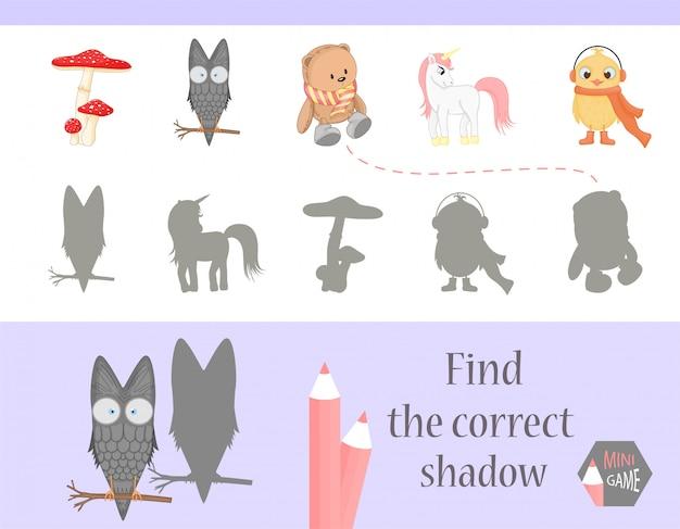 Encontre a sombra correta, jogo educativo para crianças.