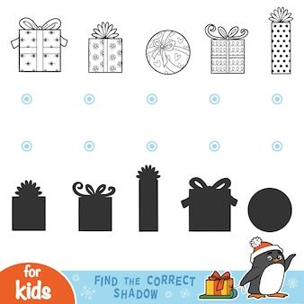 Encontre a sombra correta, jogos educativos para crianças. presentes de natal em preto e branco