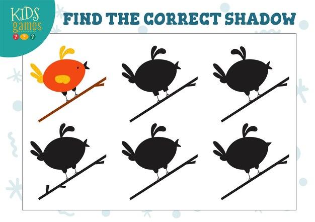 Encontre a sombra correta para a ilustração do minijogo educacional infantil do pássaro bonito dos desenhos animados com 5 silhuetas para o quebra-cabeça de correspondência de sombras