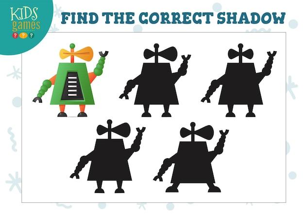 Encontre a sombra correta para o mini-jogo educacional infantil do robô humanóide bonito dos desenhos animados. ilustração vetorial com 4 silhuetas para quebra-cabeça de combinação de sombras