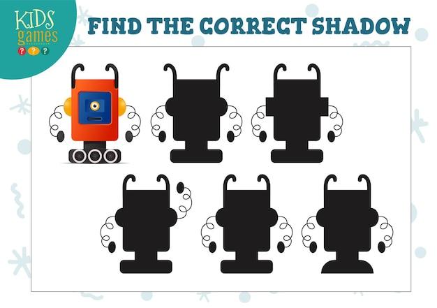 Encontre a sombra correta para o mini-jogo educacional para crianças pré-escolares do robô bonito dos desenhos animados. ilustração vetorial com 5 silhuetas para exercícios de combinação de sombras