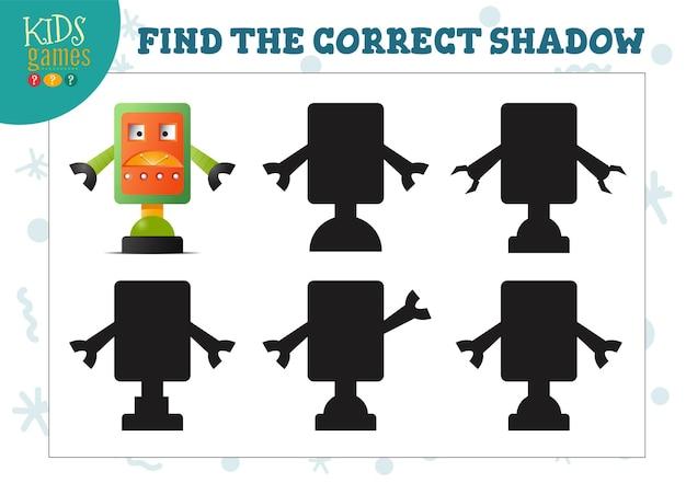 Encontre a sombra correta para o mini-jogo educacional para crianças pré-escolares do robô bonito dos desenhos animados. ilustração vetorial com 5 silhuetas para teste de correspondência de sombras