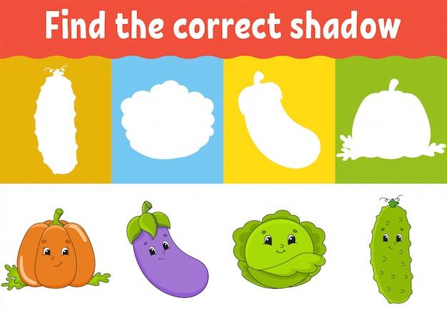 Encontre a sombra correta. planilha de desenvolvimento de educação. jogo de correspondência para crianças.