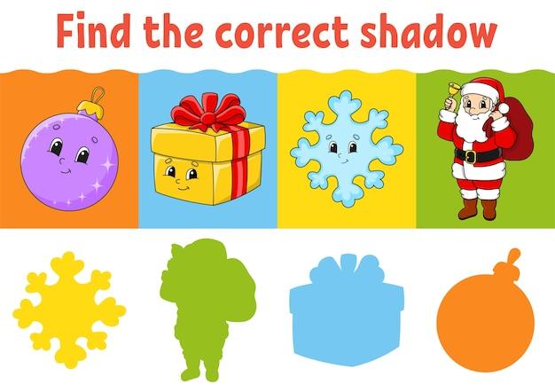 Encontre a sombra correta. planilha de educação. jogo de correspondência para crianças. página de atividades coloridas.