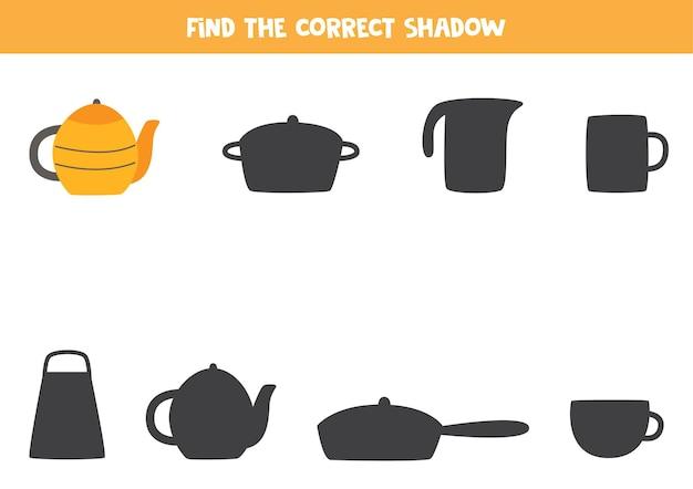 Encontre a sombra do bule de chá desenhado à mão. jogo lógico para crianças.