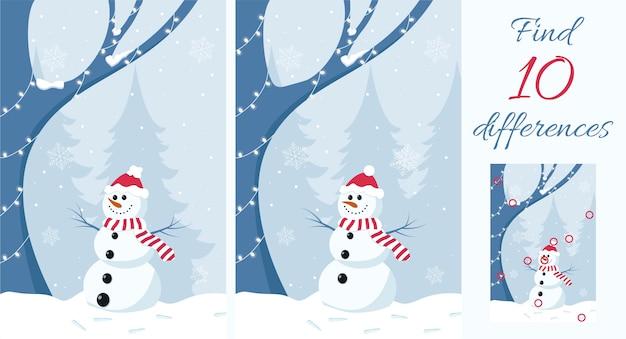 Encontre as diferenças jogo educativo para crianças boneco de neve na floresta de inverno