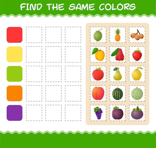 Encontre as mesmas cores de frutas. jogo de busca e correspondência. jogo educativo para crianças e bebês antes da idade escolar