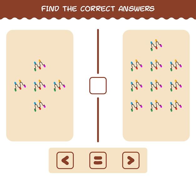 Encontre as respostas corretas da luz de barbante de desenho animado. jogo de busca e contagem. jogo educativo para crianças e bebês antes da idade escolar
