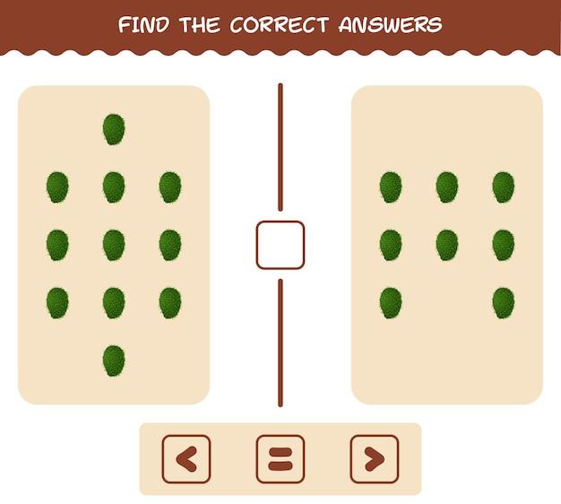 Encontre as respostas corretas de graviola de desenho animado. jogo de busca e contagem. jogo educativo para crianças e bebês antes da idade escolar