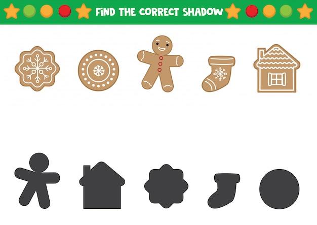 Encontre as sombras certas do biscoito de gengibre de natal.