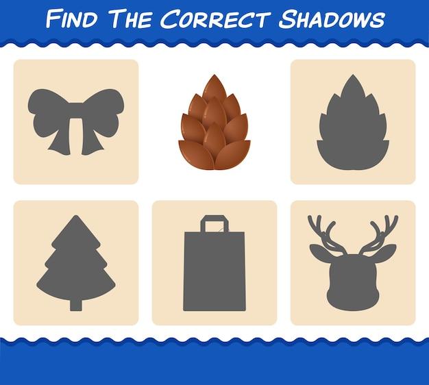 Encontre as sombras corretas da pinha. pesquisa e jogo de correspondência. jogo educativo para crianças e bebês antes da idade escolar
