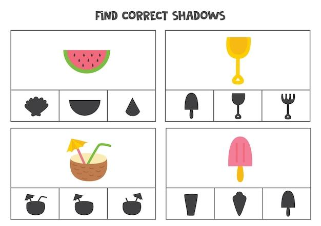 Encontre as sombras corretas das fotos. cartões de clipe para crianças em idade pré-escolar. elementos de verão.