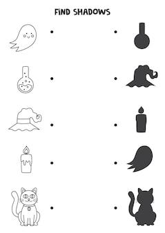 Encontre as sombras corretas das fotos em preto e branco do halloween. quebra-cabeça lógico para crianças.