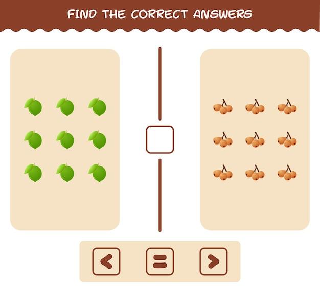 Encontre as sombras corretas das frutas dos desenhos animados. jogo de busca e correspondência. jogo educativo para crianças e bebês 1