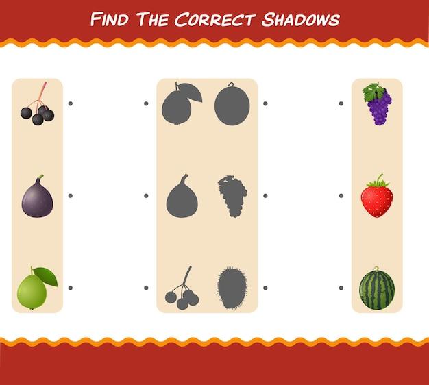Encontre as sombras corretas das frutas dos desenhos animados. jogo de busca e correspondência. jogo educativo para crianças e bebês antes da idade escolar