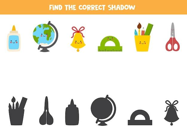 Encontre as sombras corretas de bonitos materiais escolares kawaii. quebra-cabeça lógico para crianças.