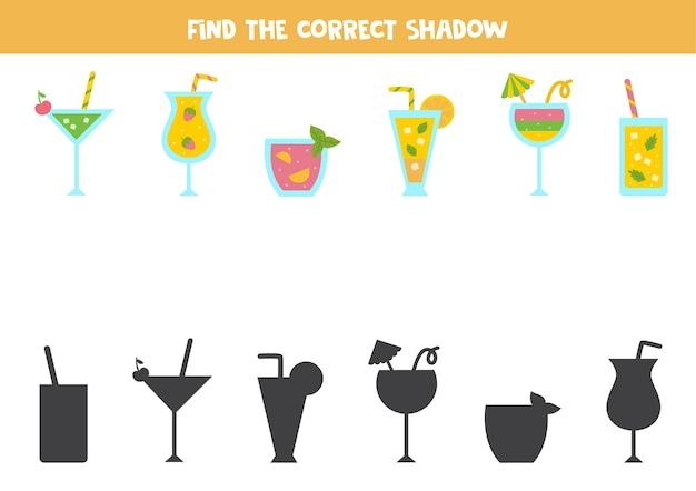 Encontre as sombras corretas de coquetéis coloridos de verão. quebra-cabeça lógico para crianças.