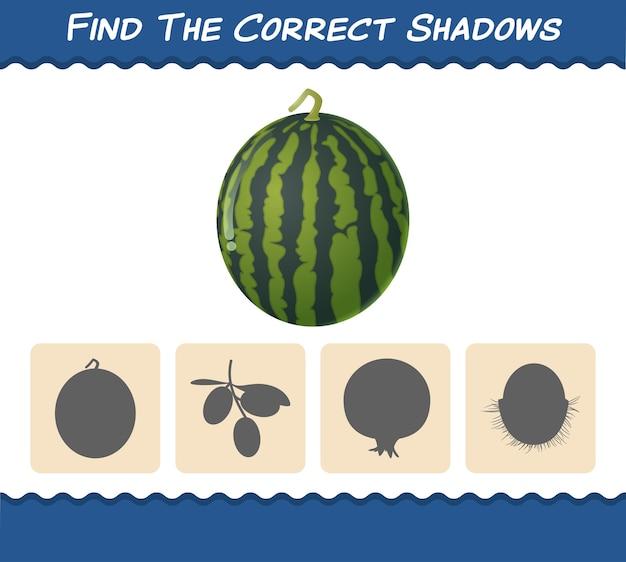 Encontre as sombras corretas de melancias de desenho animado. busca e jogo de correspondência. jogo educativo para crianças e bebês antes da idade escolar
